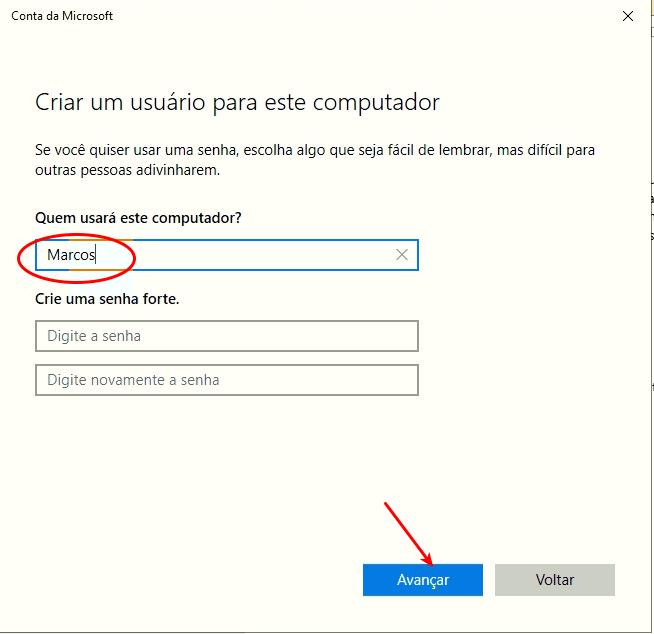 Informe o nome do usuário
