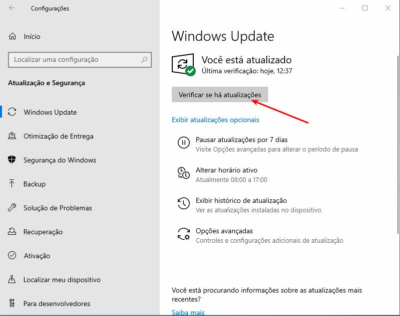 Notebook não desliga - Procurar atualizações