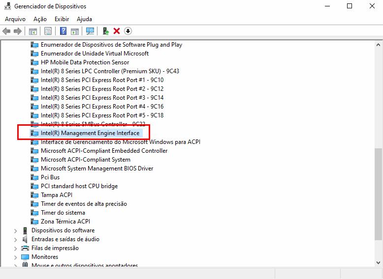 Notebook não desliga -  Intel Management Engine Interface