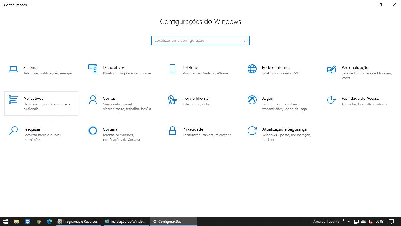 Painel de configurações do Windows