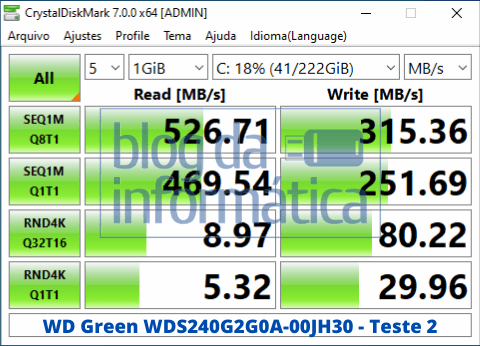Análise do SSD WD Green WDS240G2G0A 3