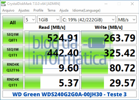 Análise do SSD WD Green WDS240G2G0A 4