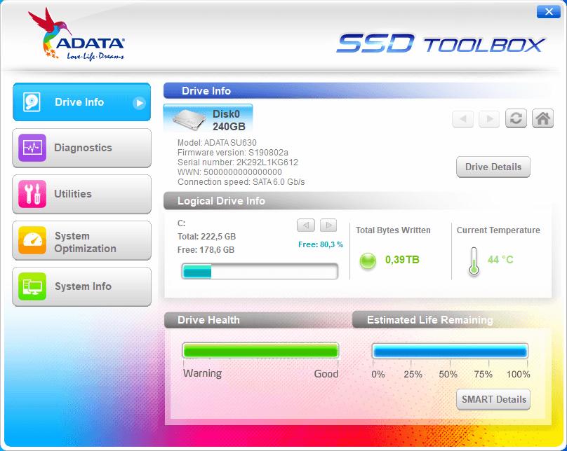 Adata SSD Toolbox - Tela 1