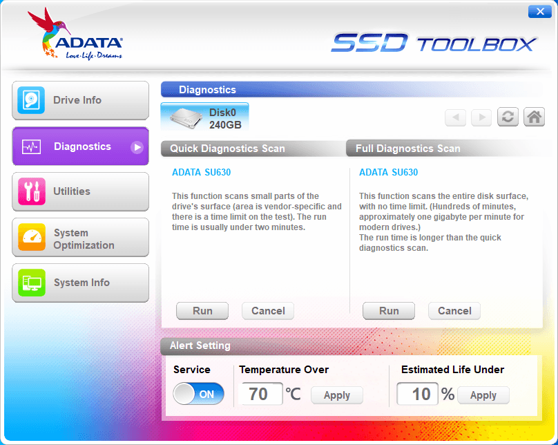 Adata SSD Toolbox - Tela 2