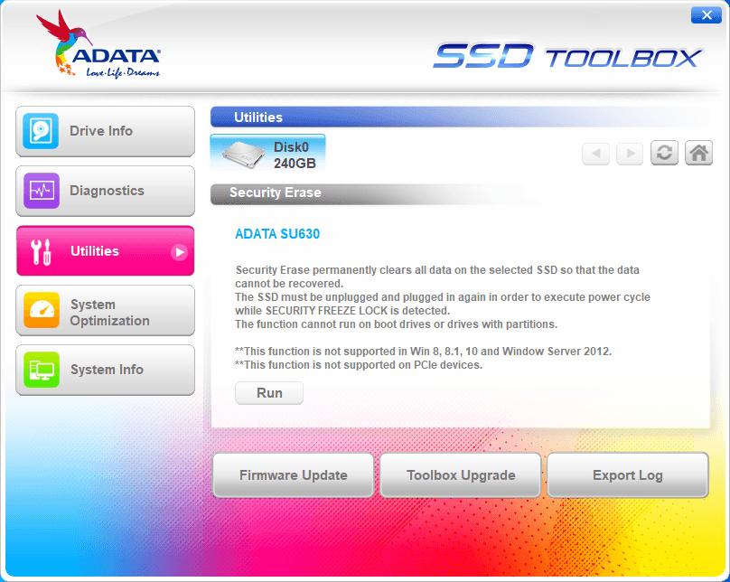 Adata SSD Toolbox - Tela 3