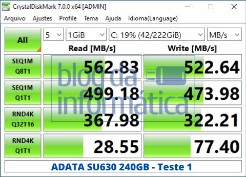 Teste 1 do Adata SU630 240GB