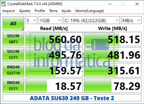 Teste 2 do Adata SU630 240GB