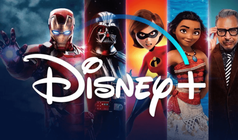 Imagem promocional da Disney, com o Homem de Ferro, Darth Vader, Os Incríveis, Moana e logo da Disney Plus