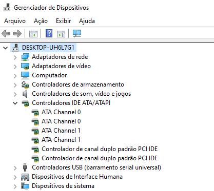 Controladores IDE no gerenciador