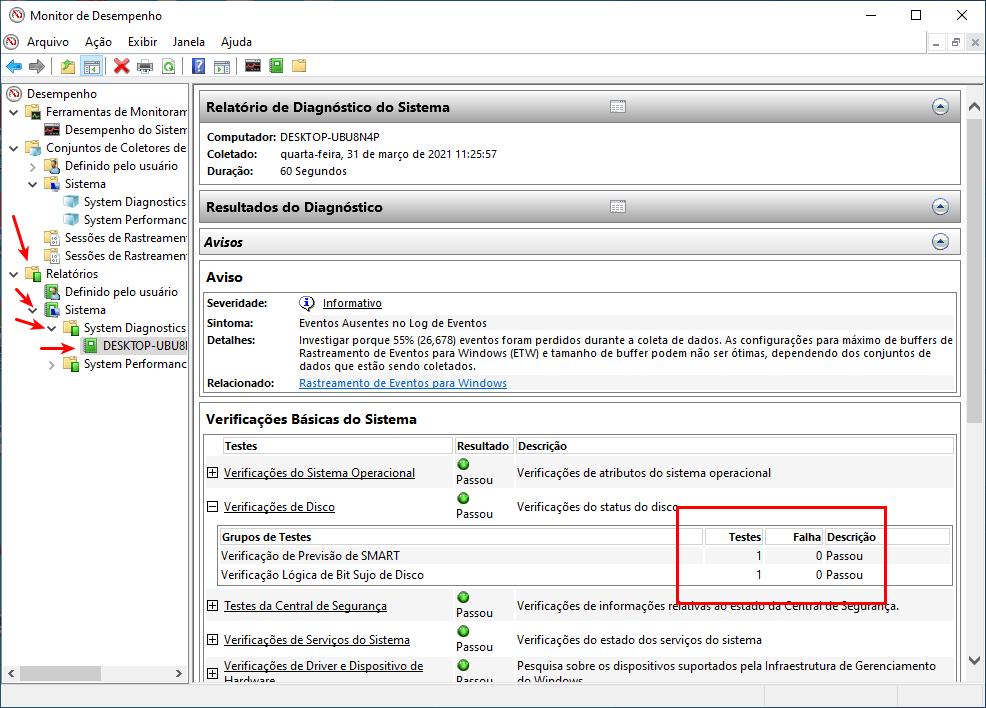 Monitor de desempenho aberto com relatório de diagnóstico de verificação do HD, sem erros