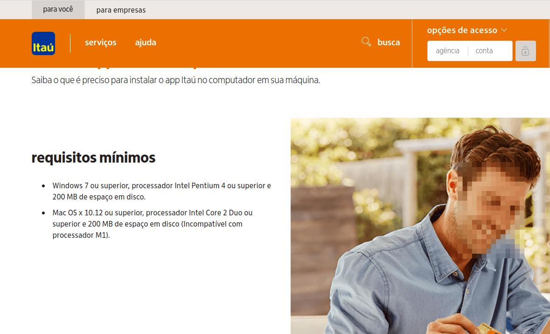 Site do Itaú falando sobre a incompatibilidade do App com os processadores M1